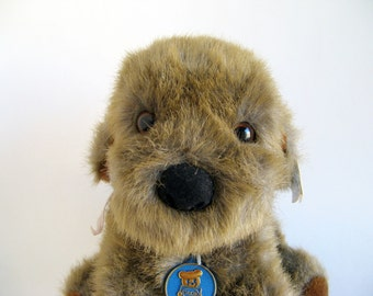 Vintage Misty Puppy Dog by Dakin with original tags and ribbon Stuffed Animal 1980s Toy Plush