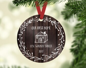 Our First Home, First Home Ornament, Housewarming Gift,  Personalized Address Sign, New House Gift, First Christmas in Our New Home