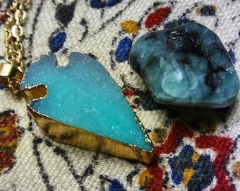 Light Blue Druzy Crystal Arrowhead Necklaces
