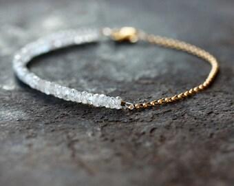 White Gemstone Beaded Bracelet, Bridal Jewelry, Zircon Gemstone Bracelet, Precious Gemstone Jewelry, Wedding Bracelet, Delicate Jewelry