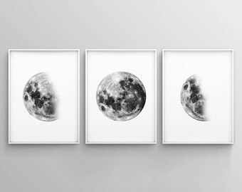 Set of 3 Moon Prints, Minimalist Moon Art, Black and White Moon Phases, Modern, Poster, Wall Art, Printable, Digital Download, Home Decor