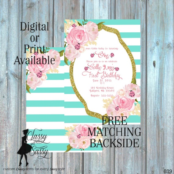 Ladybug Birthday Party Invitation, Ladybug Party, Aqua Glitter Party Invitation, DIY Print Party Invitation, Tween Birthday invite 039
