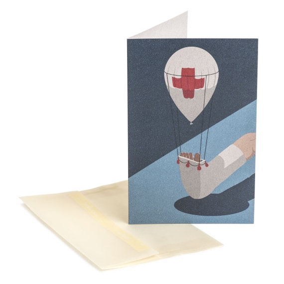 FIRST AID. Funny get well card. Uplifting message. Quick recovery. First aid. Instant relief wishes. For family and friends.