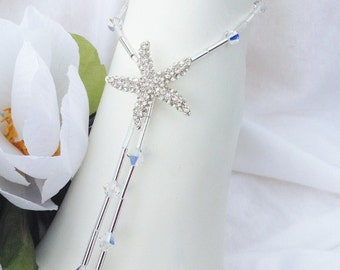Bridal Barefoot Sandals Starfish Beach Wedding, Bridal Foot Jewelry, Rhinestone Barefoot Sandle