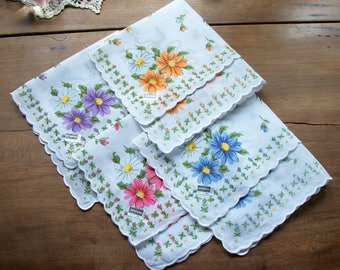 4 Assorted Colors Floral Design Hankies ~ Matching Set ~ Never Used ~ Orange ~ Blue ~ Pink ~ Purple ~ White Background ~ Scalloped Edge