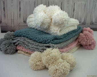 Pom Pom Baby Blanket Crochet Pattern Crochet Baby Blanket Crochet Baby Blanket Easy Crochet Pattern Baby Girl Baby Boy Easy Crochet Pattern