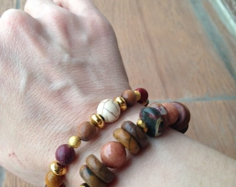 Bohemian ethnic bracelet beads natural HEISHI and buff smooth Agate natural pearls