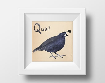 Animal Alphabet Illustrated Quail Nursery Wall Art Giclée Print