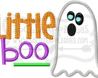 Embroidery design 5X7 6x10 Little Boo, BOY Halloween embroidery, ghost applique, Halloween applique, socuteappliques, ghost applique