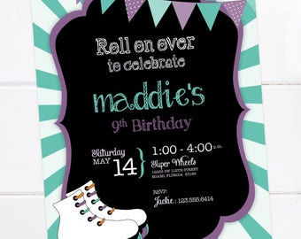 Rollerskate Party Invitation , Roller-skate Birthday, Roller Skating Party, Skates DIGITAL PRINTABLE FILE