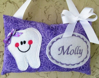 Tooth Fairy Pillow Personalized  Purple flowers