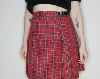 90s plaid red pleated buckle wrap skirt size small