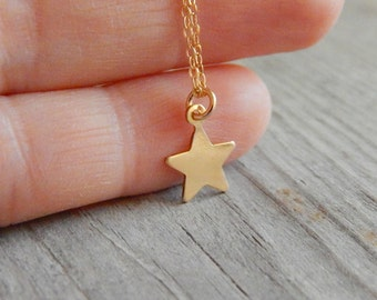 Star necklace, Delicate necklace, Gold necklace, Initial necklace, Dainty gold necklace, Layering necklace, Dainty jewelry