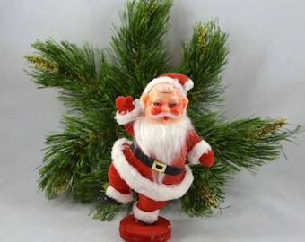 Vintage Dancing Santa, Flocked Mid Century Santa Decoration