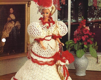 Victorian Costume Gown for Barbie or Fashion Doll from Annie's Fashion Doll Crochet Club NEW PATTERN Designed by Inez Collins Scott