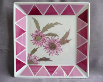 Limoges plate, hand painted plate, square plate, decorative plate, pink, silver