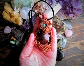 Chicken Blood Jasper, Moss Agate, and Rutilated Quartz pendant  // Wire Wrap // Goddess // Crystal Jewelry // Wild Moon Child
