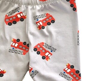 Fire truck baby leggings, fire truck toddler leggings, Boys fireman leggings, baby boy leggings, spring kids pants, fire engine boys legging