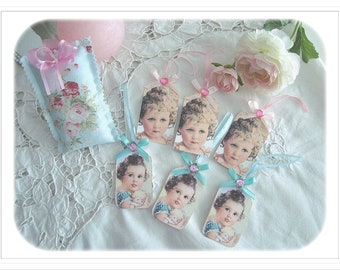 """Set of 6 gift tags of Retro Style, """"Portraits of girls"""""""