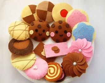 DIY felt Lovely Cookie set(11 in 1)--PDF Pattern via Email--F19