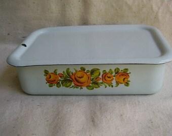 Vintage Enameled Flowers Refrigerator Box W / Lid Food STORAGE