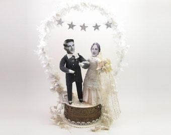READY TO SHIP Large Vintage Style Spun Cotton Star Banner and Arch Wedding Cake Topper Ooak