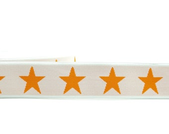 1 m Rubber band star-40 mm wide-white-orange