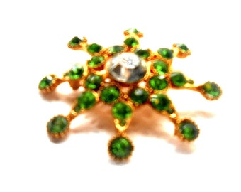 Brooch, Juliana Style Brooches, Large Rhinestones, Emerald Green, Gold Finish