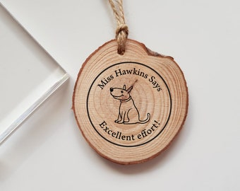 Personalised Teacher Dog Rubber Stamp Says Great Job Marking Teacher Gift