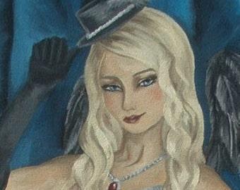 Burlesque Art Print Pinup Art Cancan Dancer Art Cabaret Dancer Wall Art 4x10