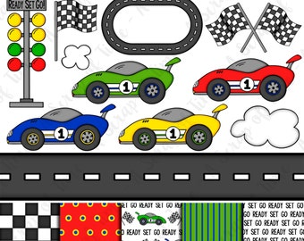 Race Car Hand Drawn Digital Clipart & Paper - Set of 17 - Race Cars, Track, Road, Flags - Instant Download - Item #9155