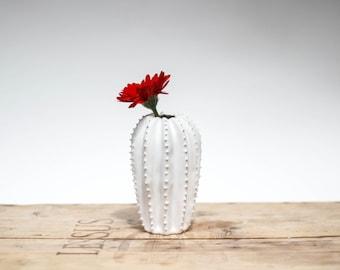 Original ceramic cactus shaped vase/ handmade vessel/ ceramic design/ white/ home decor