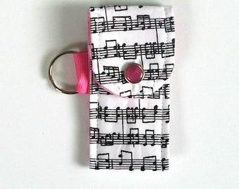 Music lovers' Lip Balm holder, Flash drive pouch, EO case, Lip balm keyring Music keychain, Band Kids graduation gift, Music Teacher gift