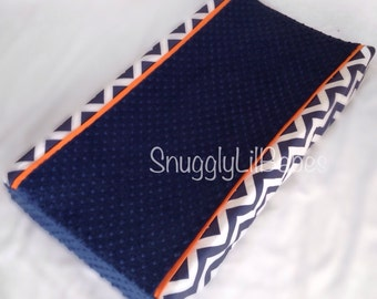 Navy chevron, orange changing pad cover with navy minky dot