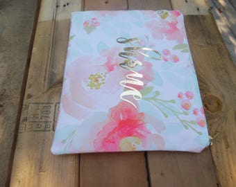 Personalized floral zippered pouch/clutch Mother's day sale