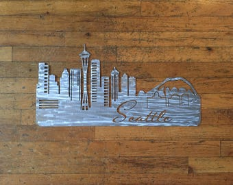 "Metal Seattle Skyline, 24"" x 12"""