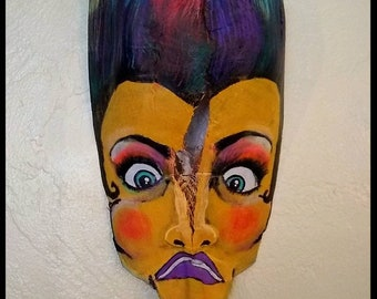 Wall Art, Colorful, Expressive Repurposed Palm Frond Mask, Painted in Acrylics, Ready to Hang Art Piece, Free Shipping