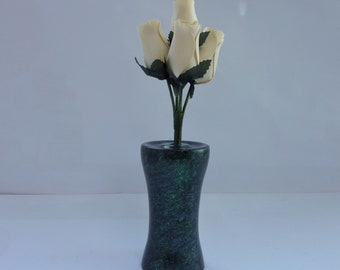 Wooden Painted Vase,Iridescent Painted with Blue,Green and Purple with 5 Cream Wooden Roses ,Ideal Gift for all occasions.