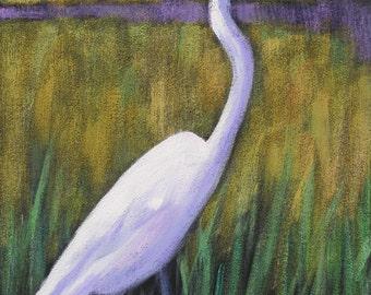 Egret II  -marsh bird acrylic painting on canvas