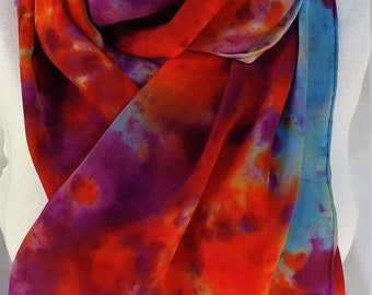 silk crepe scarf extra long hand painted Sunset Nebula wearable art women wrap luxury orange purple blue morgansilk
