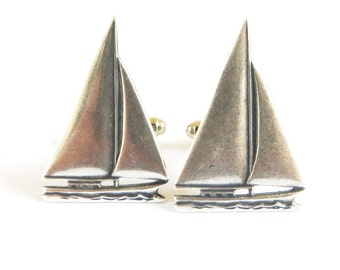 Small Sailboat Cuff Links Sterling Silver Ox Finish Gifts For Men Small Sailboats