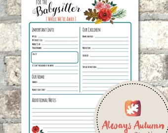 instant downloadable babysitter information sheet