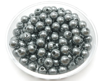 100 Gray Acrylic Pearl Beads 6mm (H1503)