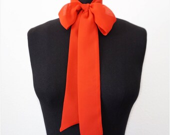 Silk Chiffon Scarf | Bow Scarf | Pussy Bow |2 COLORS | Black Scarf | Red Scarf | Silk Scarf | Gift For Her
