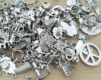 50pcs Bulk silver charms, charm lot, charm variety bulk charm lot, jewelry charms wholesale charms