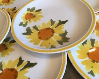 Mikasa Flora 3179 Salad Plates D1379 D1354 Cera-Stone Yellow \u0026 Orange Sunflowers Japan Vintage & Mikasa cerastone | Etsy