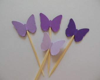 Butterfly Cupcake Toppers - Orchid Ombre - Bridal Shower Decorations - Baby Shower Decorations - Birthday Decorations - Set of 12