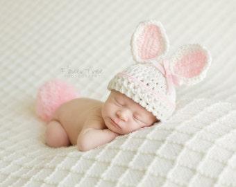 Newborn Bunny Hat, Newborn Photo Prop, Newborn Easter Hat, Crochet Bunny Hat, Easter Prop, Baby Bunny Hat With Tail, Infant Bunny Hat,