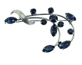Blue Rhinestone Flower Brooch, Blue Rhinestone Brooch, Blue and Silver Brooch