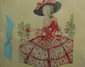 Vintage 30s Birthday Card Crinoline Lady Art Deco Greetings Card 1930s UNUSED